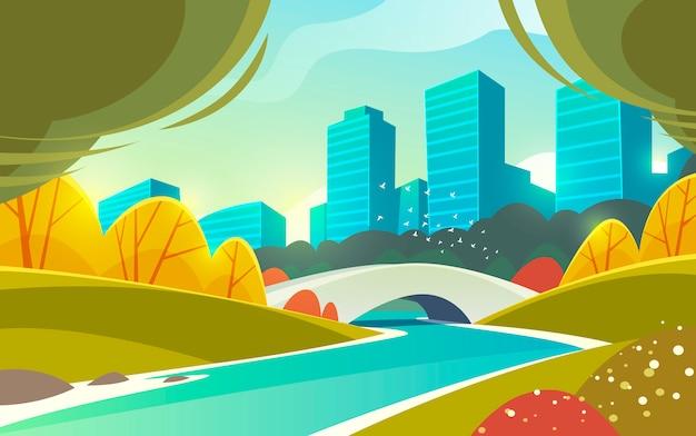 川と橋のある静かで美しい公園。都市の景観。風景。