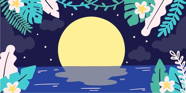 穏やかで神秘的な月の夜の落書きイラスト