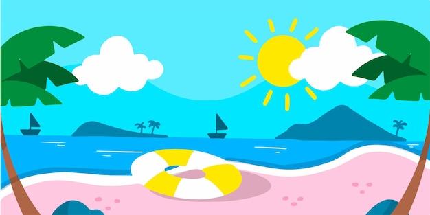 조용하고 편안한 해변 활동 낙서 그림