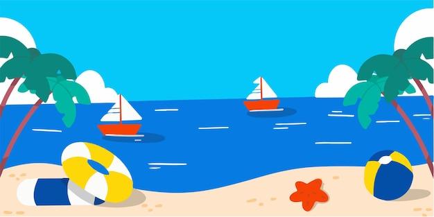 조용하고 편안한 해변 풍경 낙서 그림
