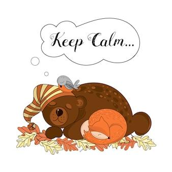 Calm animals vector illustration set