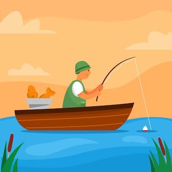 穏やかな少年釣りと湖の真ん中でボートに座っています。