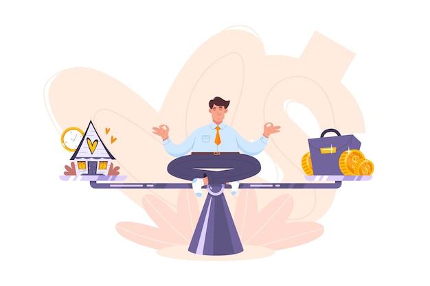 穏やかなビジネスマンがスケールで瞑想し、調和を保ち、キャリアとリラックス、ビジネスと家族、レジャーとお金、オフィスの仕事と家庭のいずれかを選択します。フラット漫画スタイルのワークライフバランスの概念