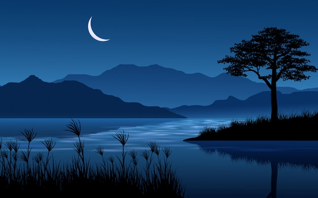 Calm night landscape at river with mountain and moon
