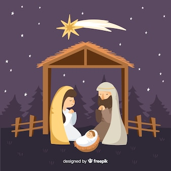 Calm night nativity background