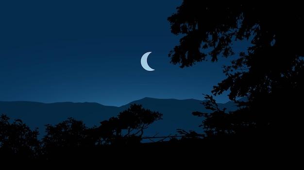 Спокойная ночная сцена с полумесяцем и силуэтом дерева