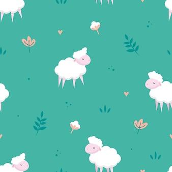 Calm sheep meadow seamless pattern