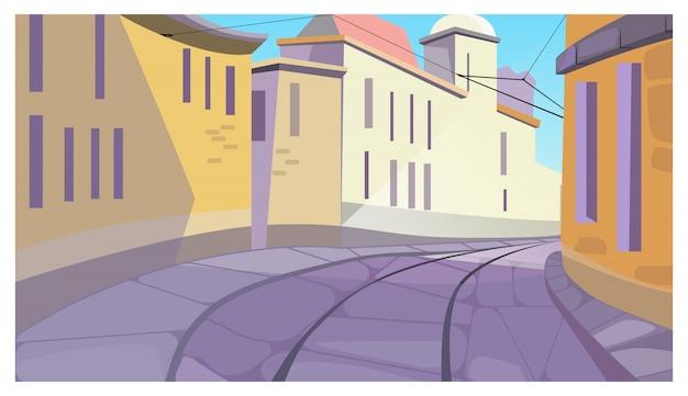 Calm town street between buildings illustration