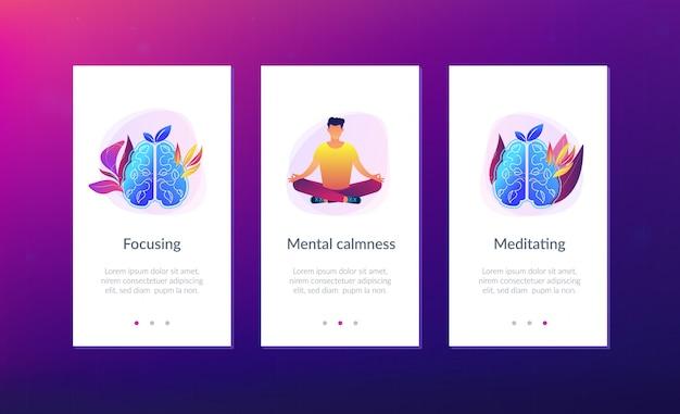 평온과 릴리스 스트레스 개념 앱 인터페이스 템플릿.