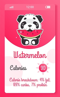 Calorie counter kids mobile app screen with cartoon kawaii character. food tracker smartphone girlish widget, application design  with panda bear. calorie calculator phone page and animal