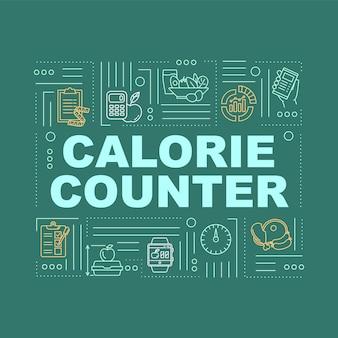 カロリーカウントワードコンセプトバナー。食事の栄養、体重管理。ターコイズブルーの背景に線形アイコンが付いたインフォグラフィック。孤立したタイポグラフィ。ベクトルアウトラインrgbカラーイラスト