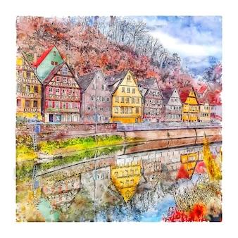 Calw 독일 수채화 스케치 손으로 그린 그림