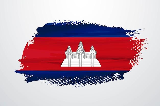 Cambodia brush paint flag