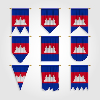 Cambodia flag in different shapes, flag of cambodia in various shapes
