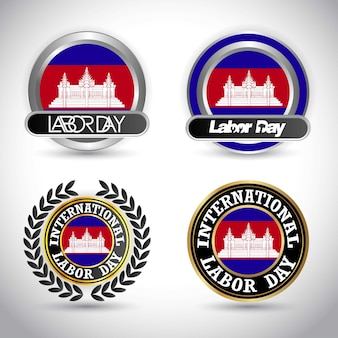 Cambodia flag labour day design vector