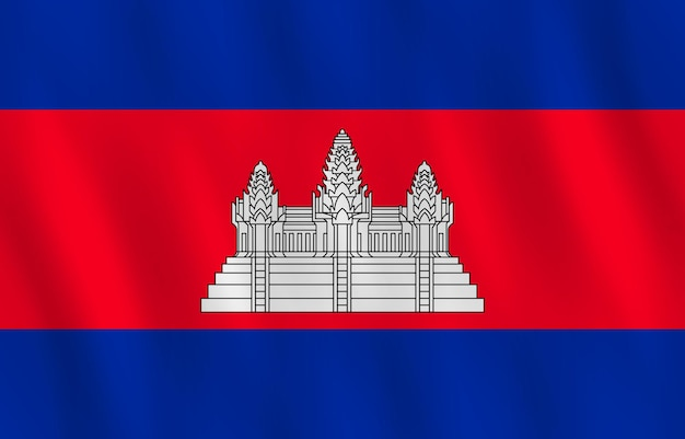 手を振る効果のあるカンボジアの旗、公式の比率。