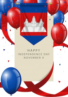 Cambodia independence day greeting card