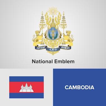 Cambodia national emblem and flag
