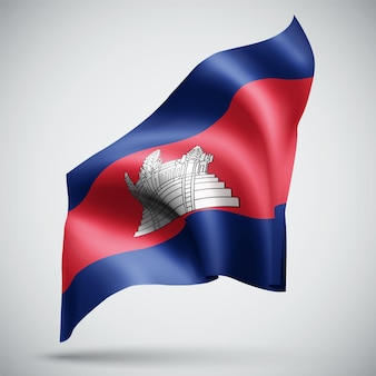 Cambodia, vector 3d flag isolated on white background