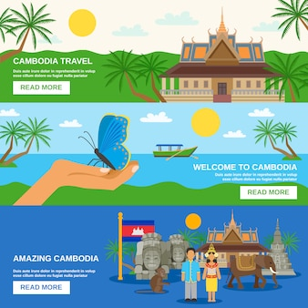 Cambodian culture horizontal banners set