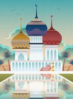 Верблюд и красочная мечеть в плоском стиле с красивым прудом с фонтаном