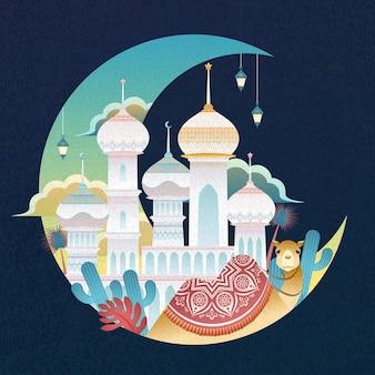 ラマダンデザインのフラットスタイルの三日月にラクダとカラフルなモスク