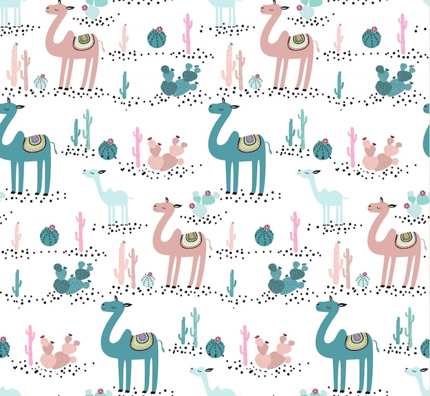 Camel and cactus seamless pattern. cute animal creative childish texture