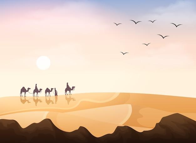 디저트 풍경 배경에서 낙타 캐러밴