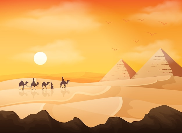 Camel caravan with egypt pyramids landscape background