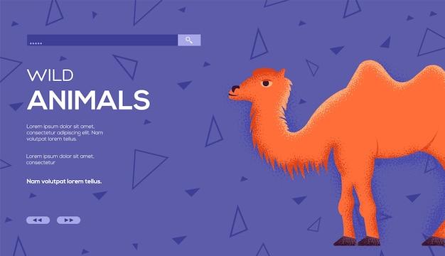 낙타 개념 전단지, 웹 배너, ui 헤더, 사이트 입력. 그레인 텍스처 및 노이즈 효과.