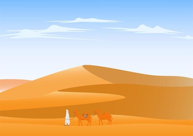 Верблюд пересекает пустынный пейзаж фон
