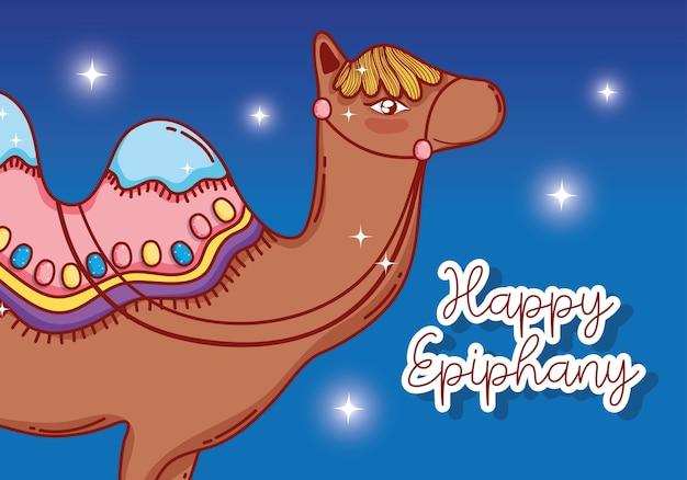 Camel desert animal with stars to epiphany celebration