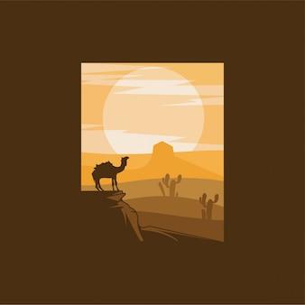 Верблюд пустыня логотип дизайн иллюстрация