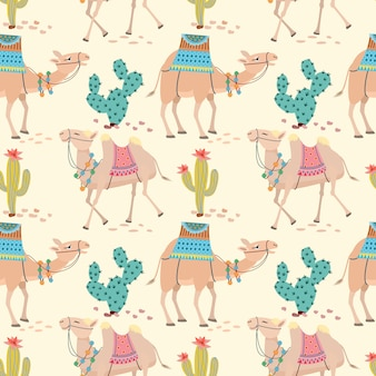Camel in desert with cactus seamless pattern.