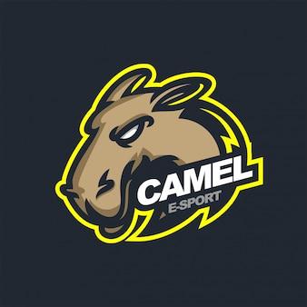Шаблон логотипа игрового талисмана camel e-sport