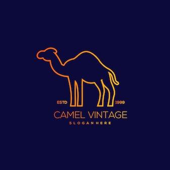 Винтажная иллюстрация дизайна линии верблюда