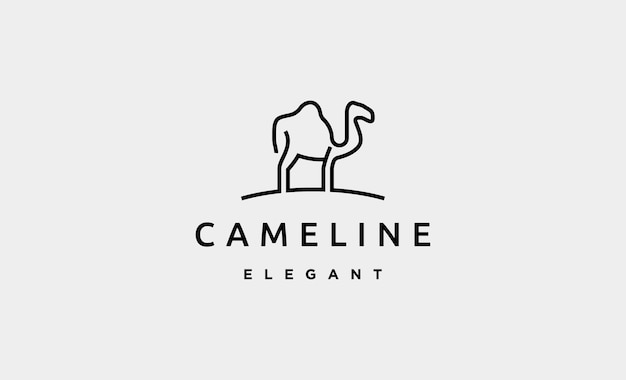 Camel monoline logo vector design illustration