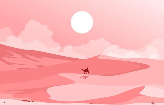 Camel rider crossing vast desert hill арабский пейзаж иллюстрация