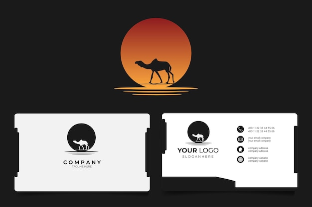 The camel silhouette at beach sunset sun retro logo with business card