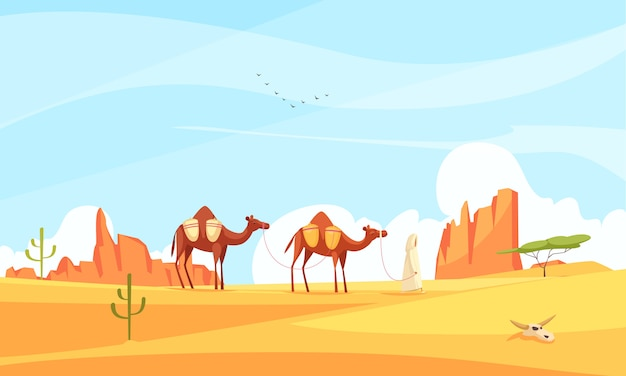 Camel train desert composition