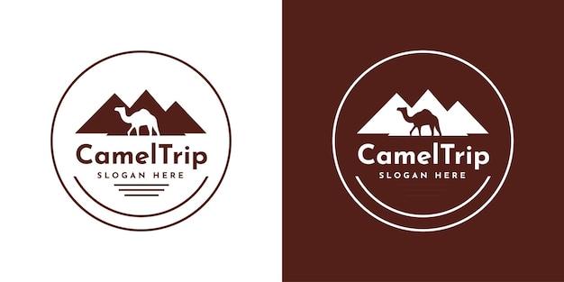 Дизайн шаблона логотипа поездки на верблюдах