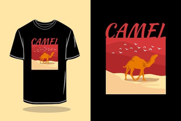 Дизайн макета футболки верблюда векторной графики