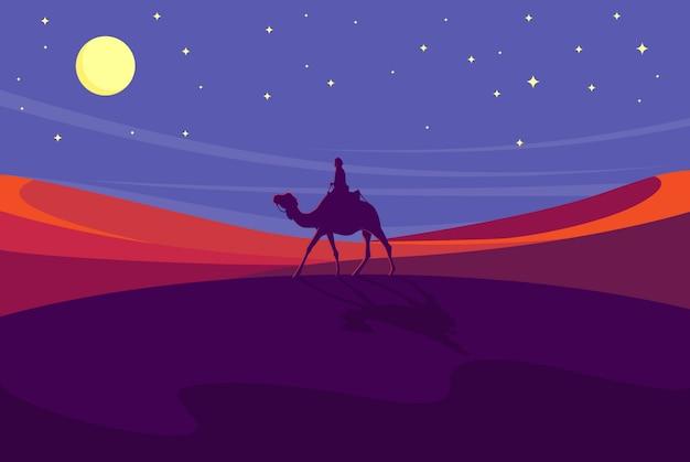 Camel walking on desert at night