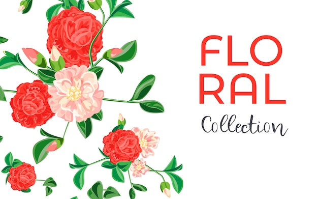 Camellia flower collection banner, cartoon style