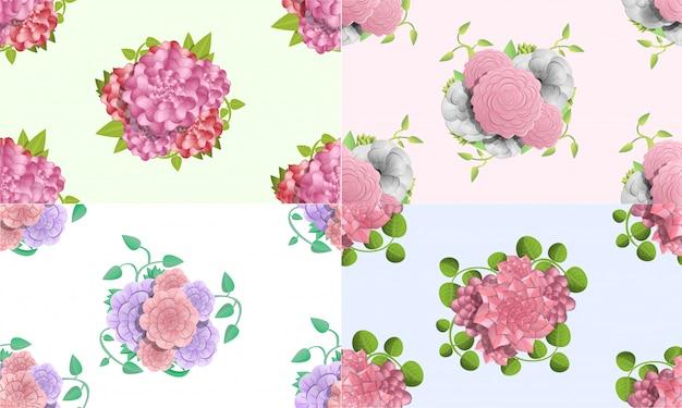 동백 꽃 패턴을 설정합니다. 동백 꽃 벡터 패턴의 만화 그림 웹 디자인을위한 설정