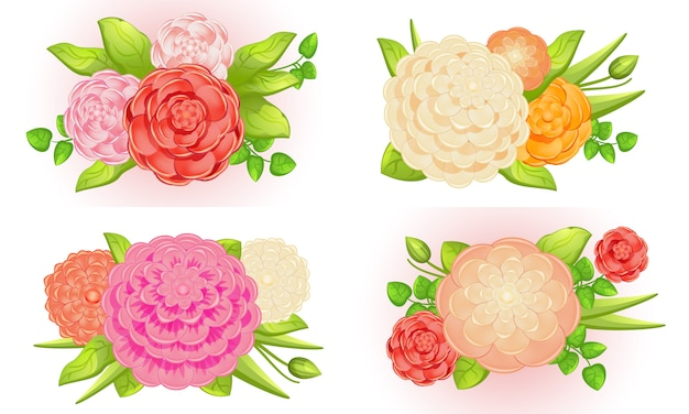 Camellia illustration set, cartoon style