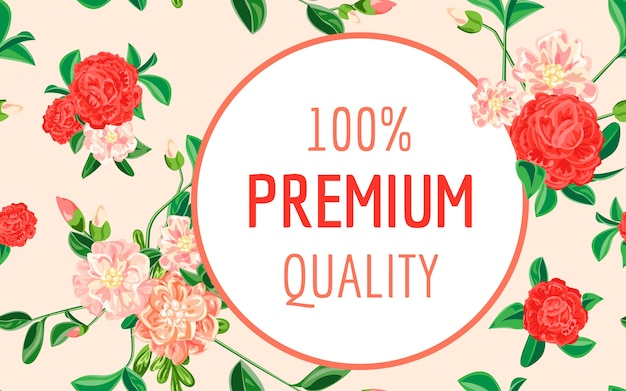 Camellia premium quality banner, cartoon style