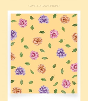 Camellia yellow watercolor background