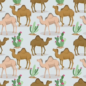 Camels and cactus in the desert pattern.