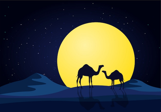 Camels in the desert night, moon
